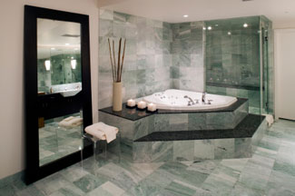 Bath Marble tile bath and shower, natural stone - san diego california