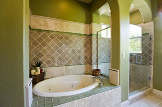 Mosaic Sandstone and Ceramic Shower and Bath
